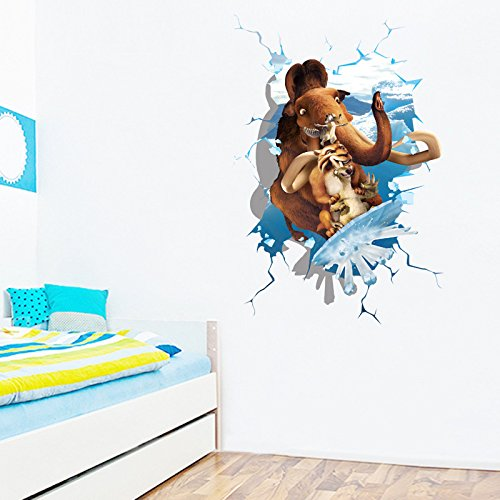 ORDERIN Christmas Gift Hot Sale 3d Wall Decal Ice Age Mural Removable Wall Stickers for Children Room Wall and Ceiling - Manchester Sale Shops
