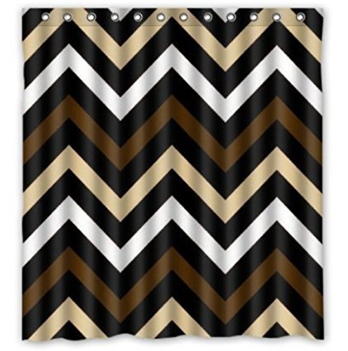 Custom Funny Brownblack And White Chevron Waterproof Bathroom Shower Curtain Polyester Fabric