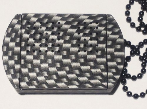 Carbon Fiber Silver-Black Design Original Solid Aluminum DogTagPillBox©® (Pattern by use of (Nitro Pattern)