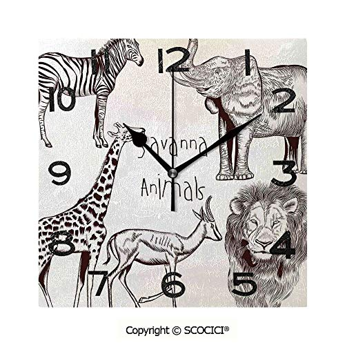 Frameless Clock 3D DIY Decorative Clock Collection Of Tropic African Asian Wild Savannah Animals Lion Giraffe Zebra Graphic 8 Inch Large Size Square Wall Clock for Living Room Bedroom Office Hotel