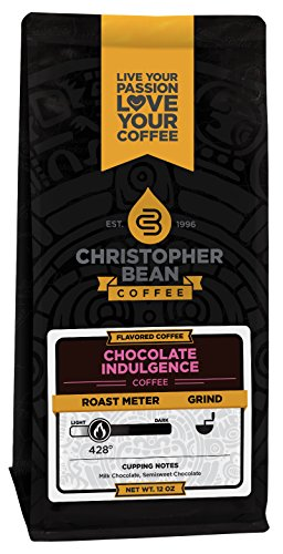 Christopher Bean Coffee Flavored Whole Bean Coffee, Chocolate Indulgence, 12 Ounce (Chocolate Whole Bean Coffee)