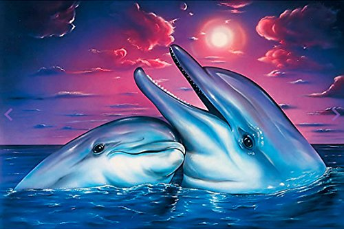 Diy Painting Full Round Drill Handmade Smiling Happy Dolphin Couple Cross Stitch Home Decor Embroidery Kit (Happy Dolphin)