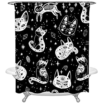 MitoVilla Childishness Witch's Cat Shower Curtain Set with Curtain Rings, Gothic Kitten and Sugar Skull Cats in Mexican Style Bathroom Artwork for Halloween Holiday Home Decor, Baby Kids Gifts, 72x72