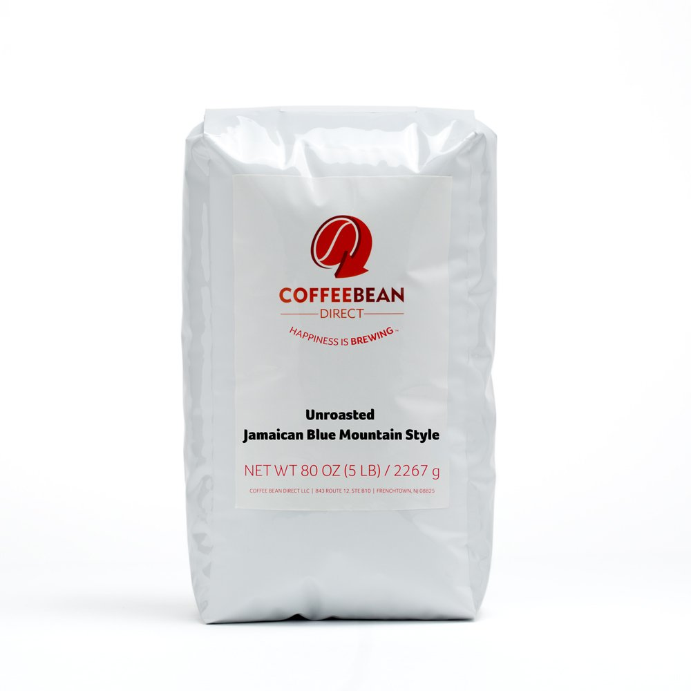 Green Unroasted Jamaican Blue Mountain Style, Whole Bean Coffee, 5-Pound Bag