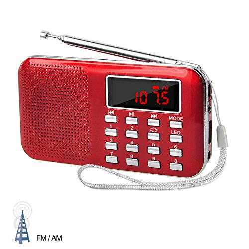 LEFON Mini Digital AM FM Radio Media Speaker MP3 Music Player Support TF Card / USB Disk with LED Screen Display and Emergency Flashlight Function ( Red --Upgraded Version ) by Lefon