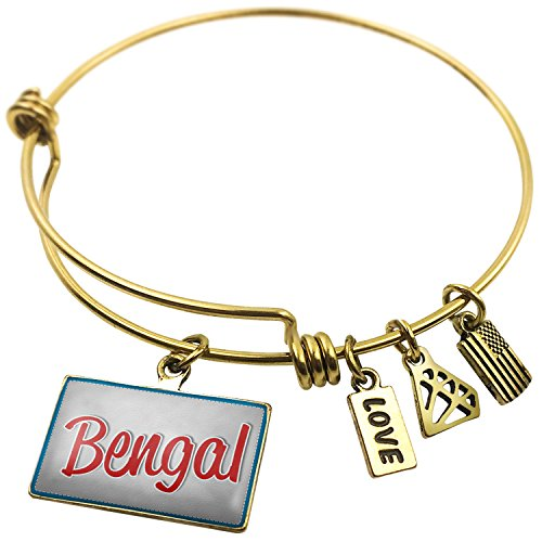 Expandable Wire Bangle Bracelet Bengal, Cat Breed United States, Neonblond