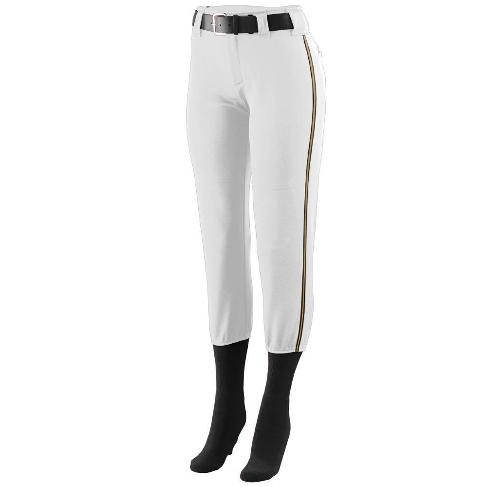 Augusta Sportswear Girls ' Collegiate Low Riseソフトボールパンツ B00GK5Q3VE Medium|ホワイト/ブラック/ゴールド ホワイト/ブラック/ゴールド Medium