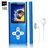 MP3 Player/Music Player,EVASA with a 16 GB TF Card Portable Digital Music Player/Video/Voice record/FM Radio/E-Book Reader,Ultra Slim 1.8''Screen (Blue-16GB)