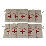 ": AerWo 10pcs ""Red Cross"" Hangover Kit Bag Bachelorette Party, Customized Cotton Muslin Bags First Aid Kit Survival Kit for Bachelorette Bachelor Party Supplies Cute Wedding Welcome Bags, Off-White"