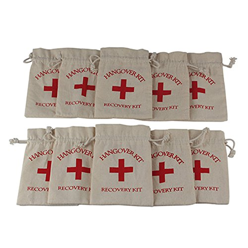 "Party Survival Kit - AerWo 10pcs ""Red Cross"" Hangover Kit Bag Bachelorette Party, Customized Cotton Muslin Bags First Aid Kit Survival Kit for Bachelorette Bachelor Party Supplies Cute Wedding Welcome Bags, Off-White"