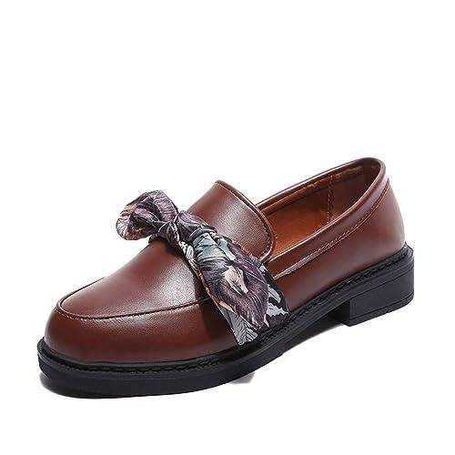 Zapatos Oxford para Mujer Primavera OtoñO ResbalóN En Seda Bowtie Mocasines con Punta Redonda Tacones Bajos Zapatos Casuales: Amazon.es: Zapatos y ...