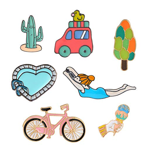 Pibupibu Women Teens Girls Cute Enamel Badge Brooches Pins Set for Clothes Bag Jacket Backpack Hat Costume Accessories Decoration (Holidays Traveller) -
