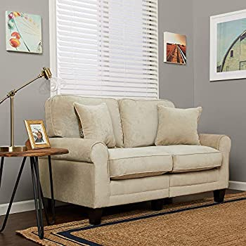 Amazon.com: Ashley 37 in. Faux Wood Loveseat in Fossil ...