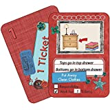 NEATLINGS Chore Cards Self-Care Deck ● 34 Self-Care Chores & 21 Ticket Cards ● Reward & Responsibility ● Red