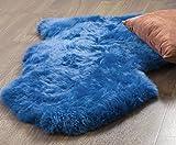 Genuine Australian Sheepskin Rug One Pelt Blue Natural Fur, Single, Approx. 2ft. x 3ft.