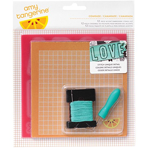 American Crafts Amy Tan Stitched 12-Piece Embroidery Stencil Kit, Comrade