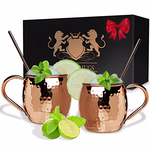 B. WEISS Moscow Mule Copper mugs barrel shape Set Of 2, Handmade Hammered mugs- Premium Quality - 100% Pure Copper Comes in an elegant gift box+ 2 copper straws