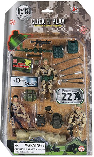 Click N' Play Military Dessert Marine Action Figure 22 Piece Accessory Play Set.