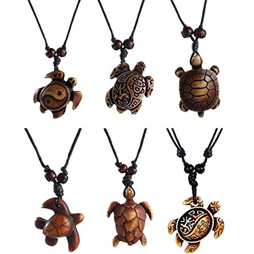 - Boys Sea Turtles Pendant Necklaces Gifts for Women Men Tortoises Jewelry Gifts Brown 6Pcs M032