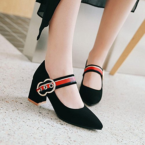 Carolbar Women's Chic New Style Mid Heel Pointed Toe Buckle Mary Jane Shoes Black cqpcHqJSV