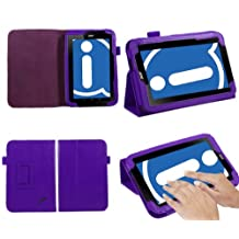 """iTALKonline Acer Iconia B1 7"""" Tablet Purple Stand & Type PU Leather Executive Multi-Function Wallet Case Cover Organiser Flip with Built in Typing Stand"""