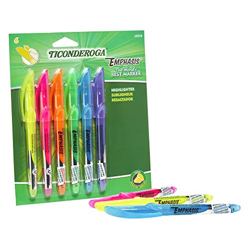 TICONDEROGA Emphasis Fluorescent Highlighters, Pocket Style with Clip, Chisel Tip, Assorted Colors, 6-Pack (48008)