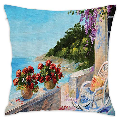 Podas Big Sea View from a Balcony with Cosy Rocking Chair and Flowers in Summer Sky Oil Painting Decorative Pillow Case Throw Pillows Covers for Couch/Bed 18 X 18 Inch -