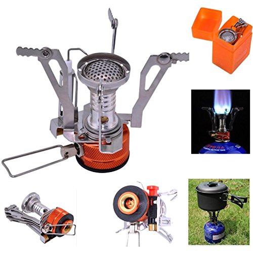 Camping Stoves, Samyoung Portable Outdoor Backpacking Cookware Cooking Stove Butane Propane Burner for Gas Canister With Piezo Ignition