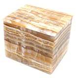 Flowing Amber Stone Square Jewelry Box, 5″ long (3.45lbs), Carved from Real North American Onyx Aragonite – The Artisan Mined Series by hBAR Review