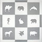 Foam Floors Extra Large Soft Mat for Babies and Kids, Safe Thick Non-Toxic Cute Animals (White and Gray)