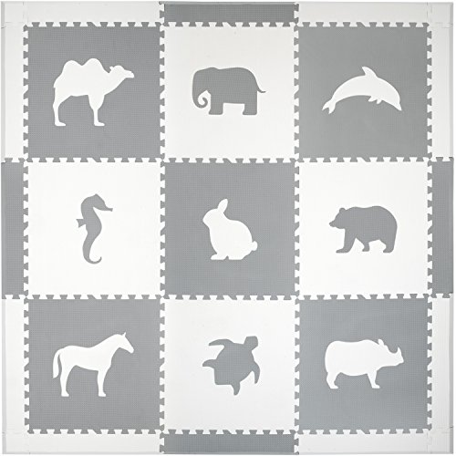 Extra Large Soft Mat for Babies and Kids, Safe Thick Non-Toxic Cute Animals (White and Gray)