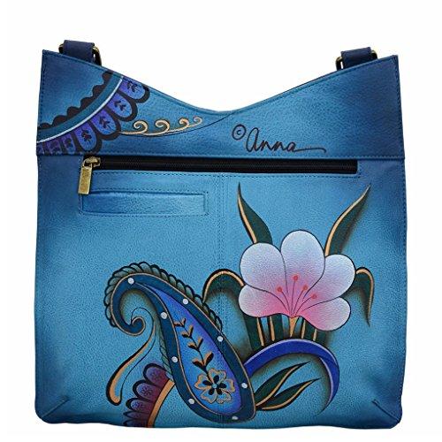 Holder Hobo Painted Anna Denim Shoulder Paisley Bundle Hand Handbag Floral Anuschka amp; Leather V Top by Purse qTHxYtHv