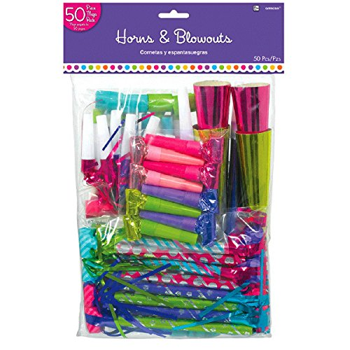 Amscan Charming Purple and Teal Birthday Party Horns and Blowouts, Pack of 50, Multi, 15'' x 9 3/8'', Foil Supplies (300 Piece)