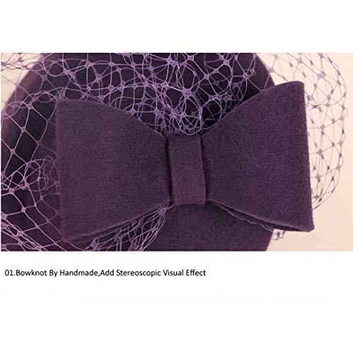 Mujer Olado Para Velo Con Novia De Fascinante Del Sombreros Púrpura Británico Pastillero Estilo Fedora Vestido Sombrero AwqXwT4