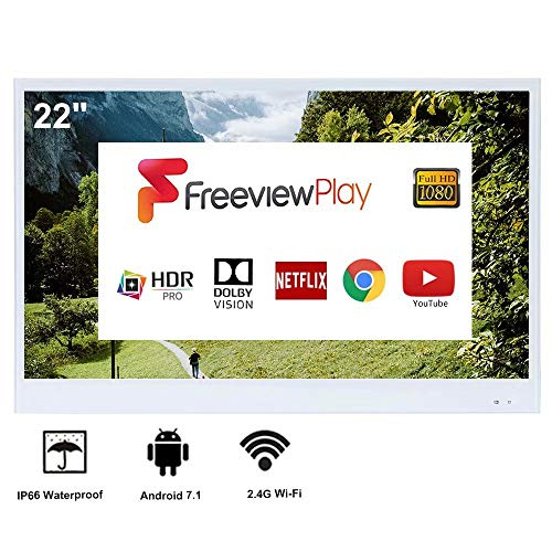 Elecsung 22inch Smart White TV IP66 Waterproof TV with Integrated HDTV(ATSC) Tuner -