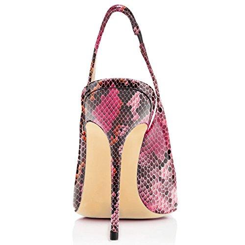 T Red A Tacco Cinturino Python Donna Edefs Scarpe Con Col qzW0Sv