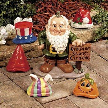 Gnome Greeter Garden Statue W/ Hat Assortment Sculpture (Gnome Sweet Gnome)