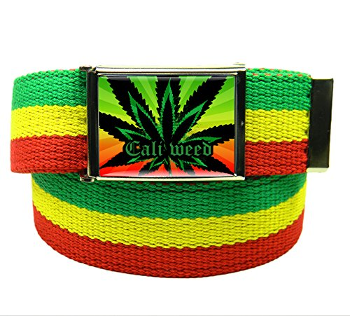 Cali-Weed-Flip-Top-Mens-Belt-Buckle-with-Canvas-Web-Belt-XXX-Large-Rasta-Stripe