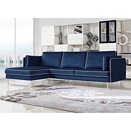 Modern blue couch Loveseat Homeroots Divani Casa Anchusa Modern Blue Fabric Sectional Sofa Adshost Blue Sofas Couches Navy Royal Light Dark