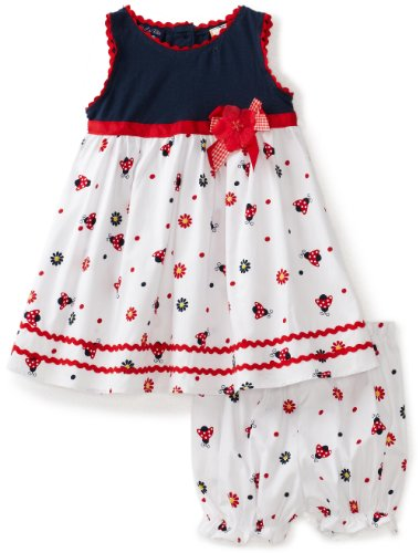 So La Vita Baby Girls' Knit Yoke Ladybug Woven Skirt, Navy, 12 Months