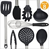 8 Piece Kitchen Utensil Set - Stainless Steel Metal and Black Silicone Serving Utensils Including Tongs Spoons Spatula Ladle Whisk and Frosting Spatula Professional Nonstick Safe Modern Cooking Tools