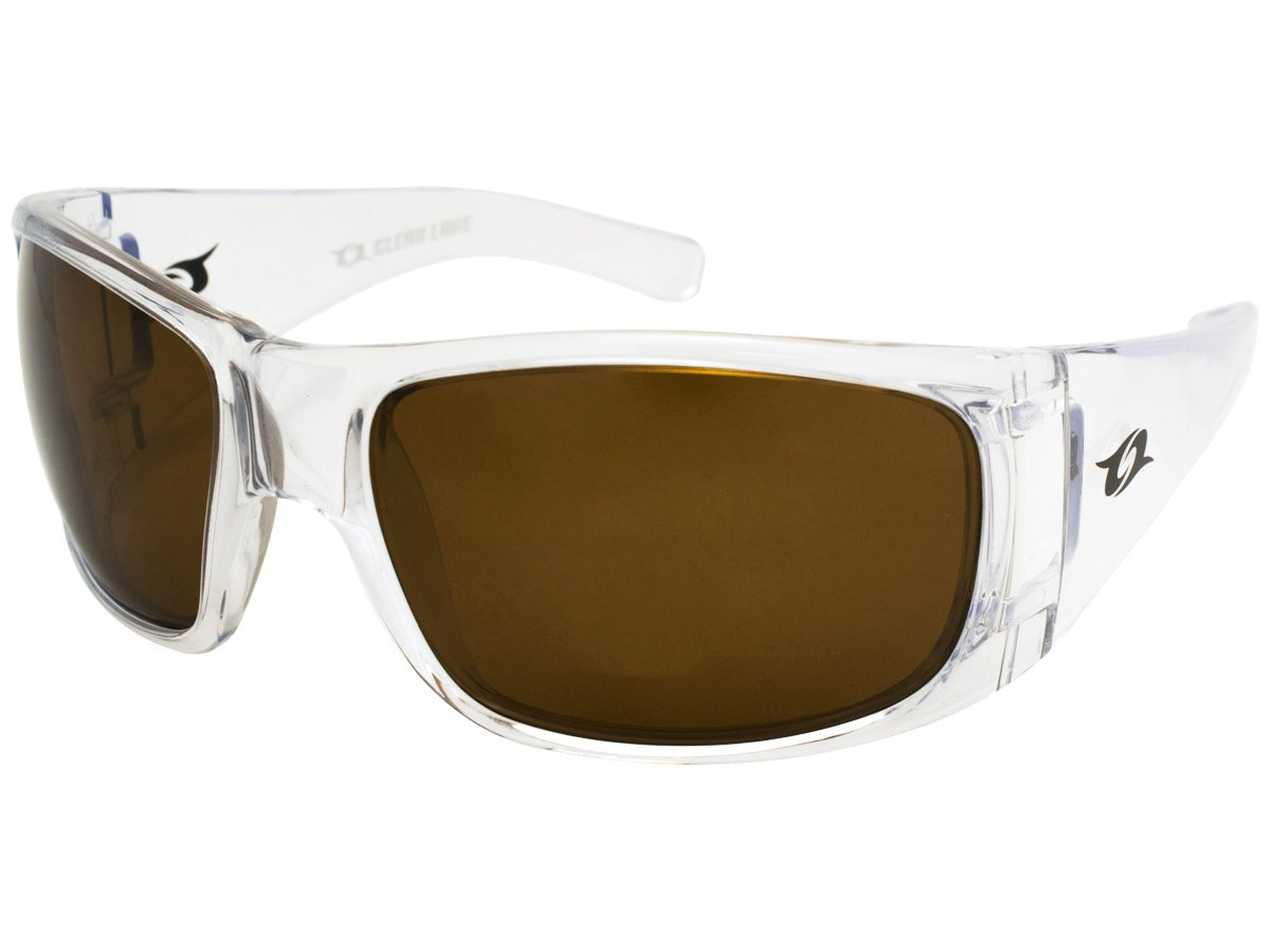 Clear Lake Montana Men's Fishing Sunglasses, Wrap around Clear Frame, Brown Polarized Lens
