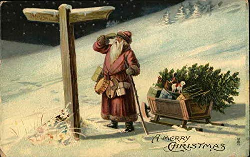 Santa Scrutinizing Directional Sign with Sleigh Full of Toys Christmas Original Vintage Postcard
