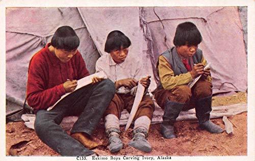 Postcard Eskimo Boys Carving Ivory in Alaska~120082
