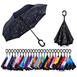 NewSight Reverse/Inverted Double-Layer Waterproof Straight Umbrella, Self-Standing & C-Shape Handle & Carrying Bag for Free Hands, Inside-Out Folding for Car Use (Star Sky)