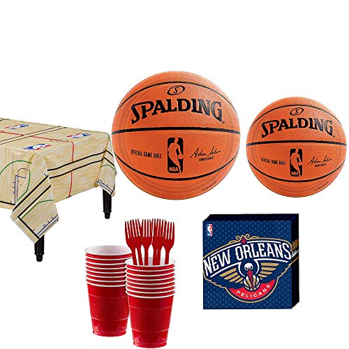 Party City New Orleans Pelicans Party Kit 16 Guests, Includes Table Cover, Plates, Napkins and More