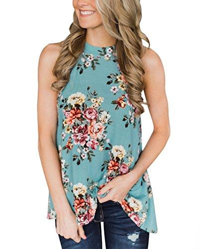 Gogolan Women's High Neck Floral Print Tank Tops Sleeveless Halter Top Casual Shirts,Green,M