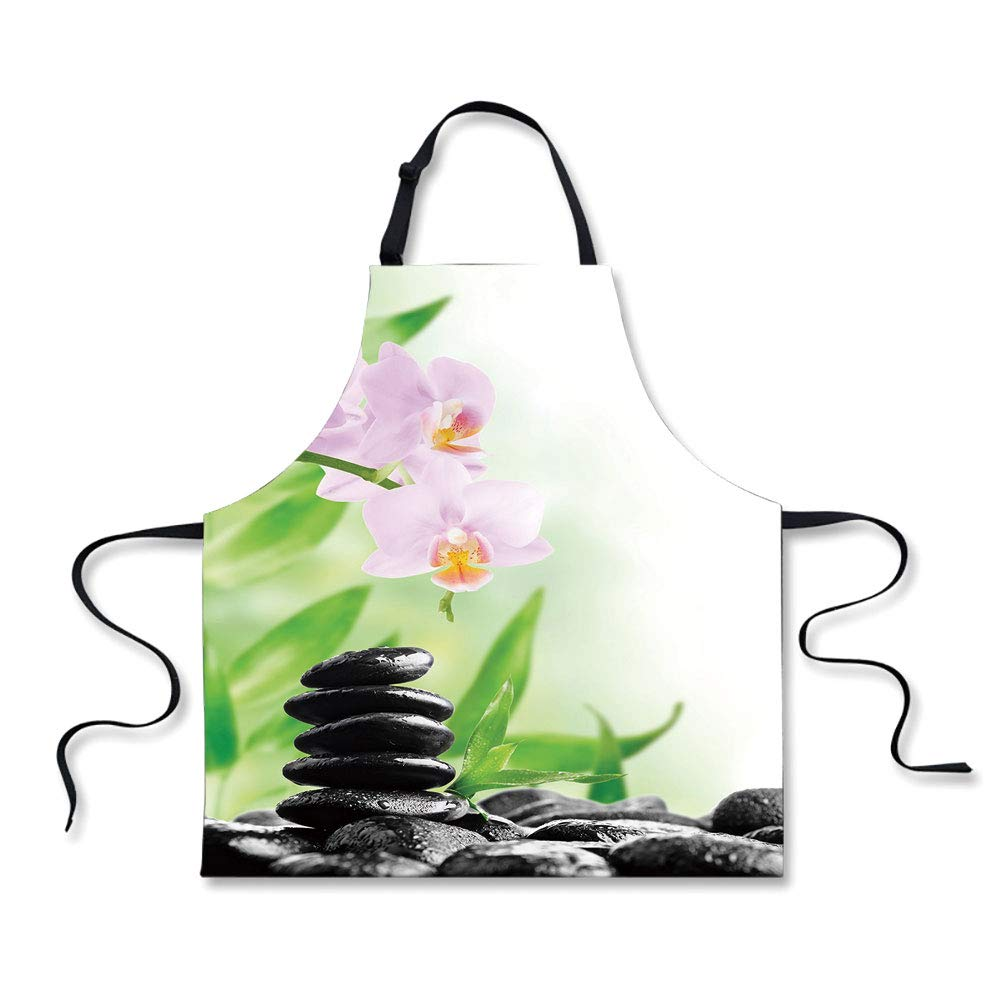 iPrint Custom Apron,Spa,Zen Basalt Stones and Orchid with Dew Peaceful Nature Theraphy Massage Meditation Decorative,Black Pink Green,Home Apron.29.5''x26.3''
