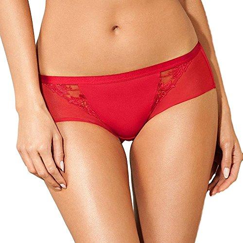 Lisca Semi Sheer Boyshort Panty Vivian Fashion Lingerie, Red, M