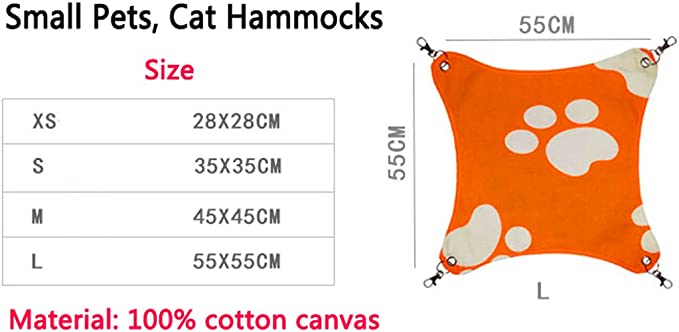 Hillento Cat Hammocks Bed Use with Cage or Chair Ferret Rabbit Soft Sleepy Pad Red Reversible 2 Sides Small Pet Hammock for Kitten Rat Hammock Comfortable Pet Hanging Bed